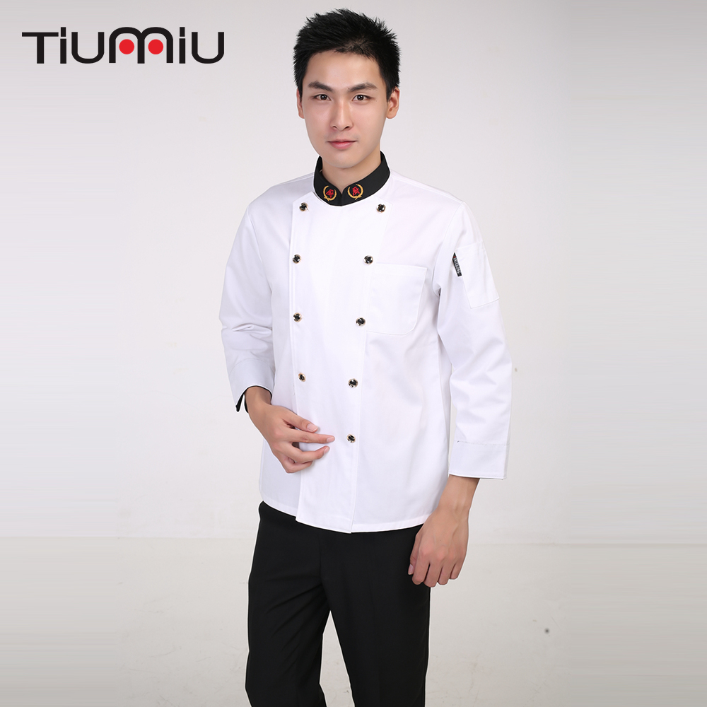 Long Sleeve Men Women Restaurant Kitchen Cooking Workwear Clothing Double Breasted Chef Jacket Bakery Waiter Work Chef Uniforms