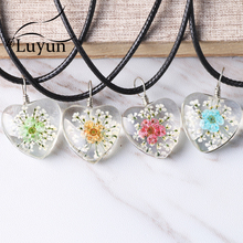 Luyun Women's Jewelry Daffodil Dried Flower Necklace Heart Suspension Wholesale Free Shipping