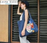 New Fresh Style Women Dob Bag Canvas Shoulder Bag Beach Bags Shopping Tote Bag Cloth Print
