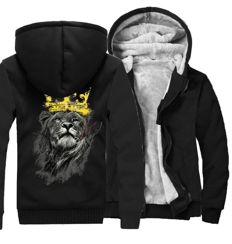 men's lastest 2019 fashion long sleeve thick jacket king of lion printed sweatshirt funny hoodies men tracksuit streetwear male-in Hoodies & Sweatshirts from Men's Clothing    1