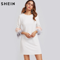 SHEIN Contrast Feather Sleeve Textured Dress Autumn White Three Quarter Length Sleeve Casual Shift Woman Dresses