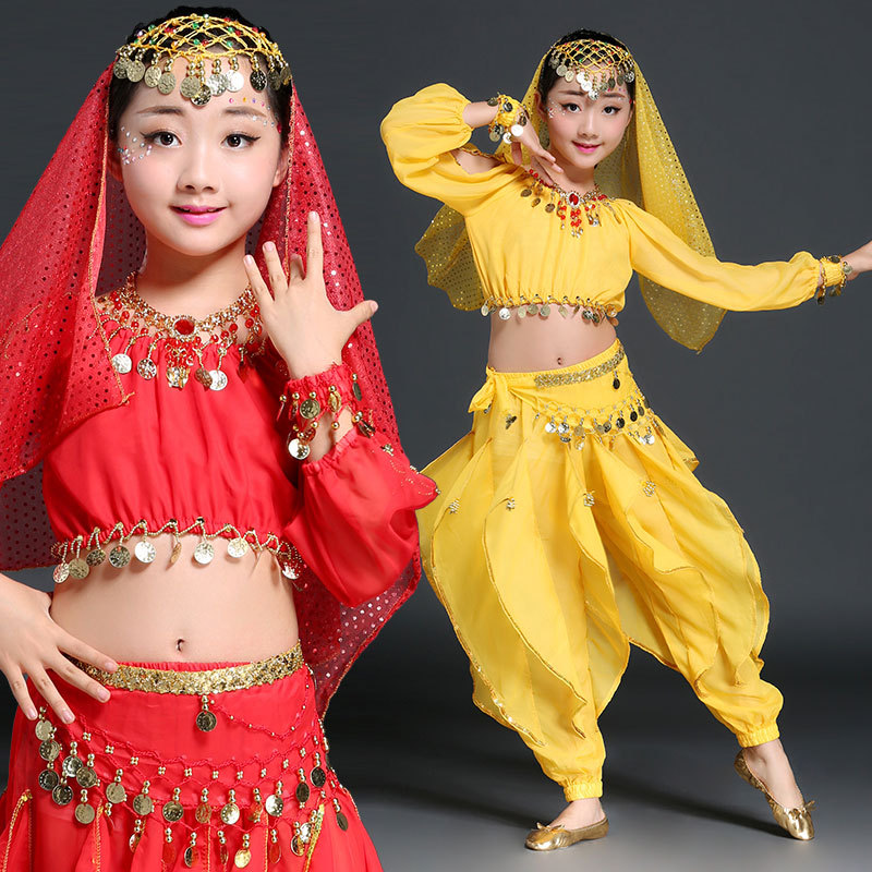 Belly Dance Costumes for kids Indian dance Bollywood Dancing 6 piece Set Coins Top Belt pants necklace earrings and headwear in Belly Dancing from Novelty Special Use