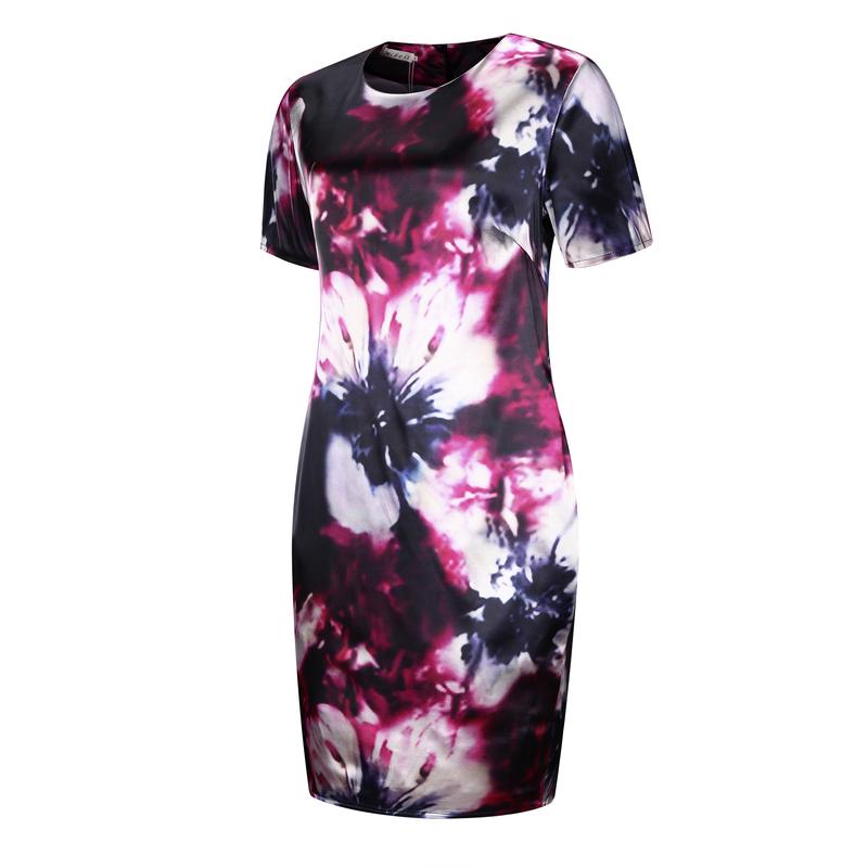 19 Fashion Brand Women Dress Plus Size 6XL Vestidos O Neck Print Flower Straight Casual Summer Knee Length Oversized Dress 7