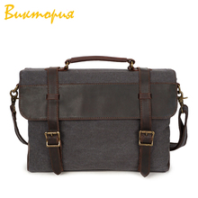 CHARAS brand mens Briefcases canvas+cowleather laptop bags Business Office messenger High capacity Shoulder Bags