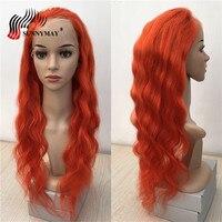 Sunnymay оранжевый Цвет Full Lace человеческих волос парики объемная волна прозрачного кружева бразильской Девы волос, парики, кружева с ребенком в