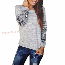 Geometric pullover o-neck sweater lady thin print loose shirt sleeve long