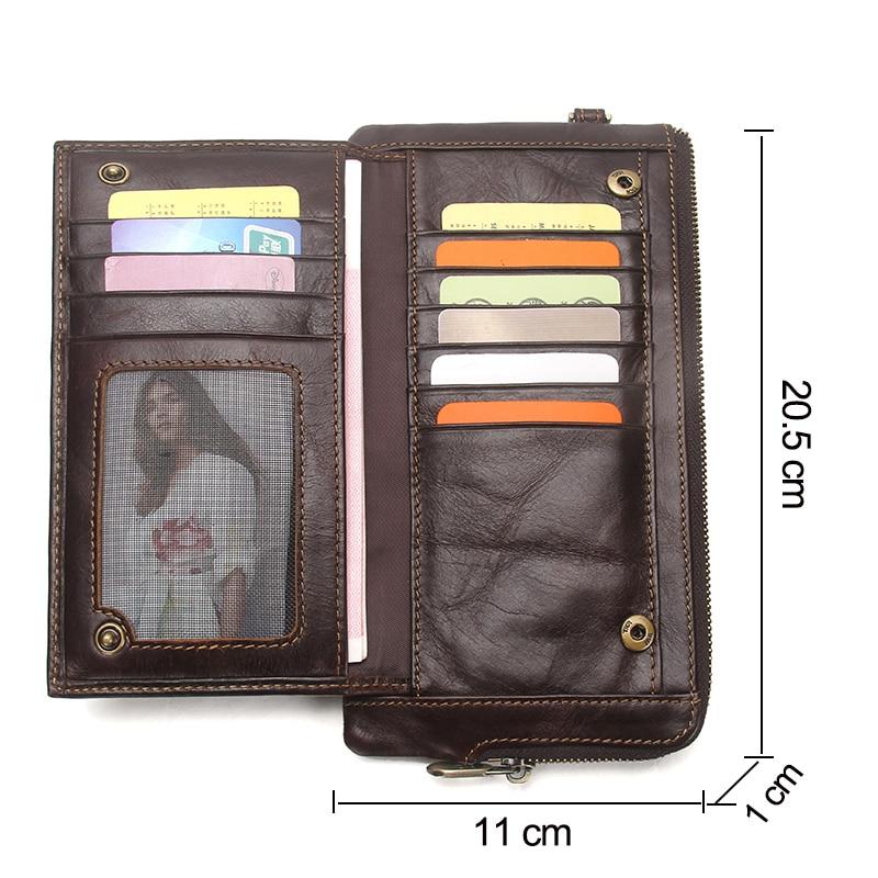 Image 3 - CONTACTS Wristlet Bag Genuine Leather RFID Cellphone Wallet  Mens Clutch Wallets Men Credit Card Holder Male Long Purse Zipperlong  pursewallet menclutch wallet