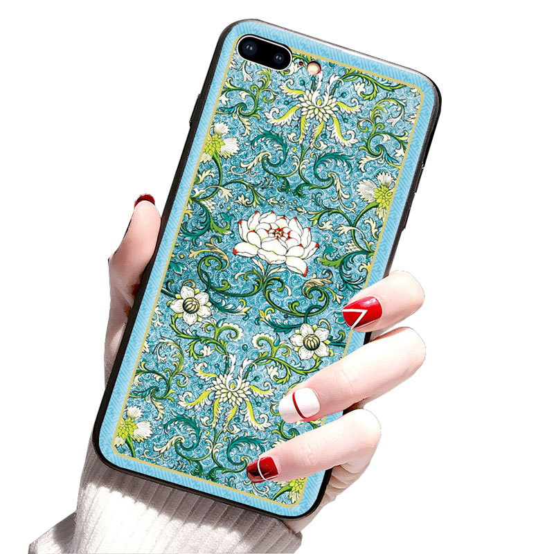 For iphone6 7 8 X XR XMAX mobile phone shell painted embossed Chinese dragon TPU soft plastic drop protection sleeve in Half wrapped Cases from Cellphones Telecommunications