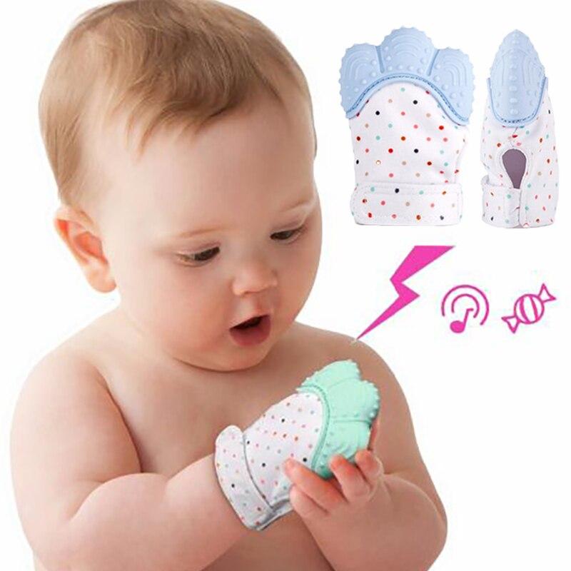 1 piezas de silicona mordedor chupete de bebé guante dentición masticables recién nacido enfermería mordedor cuentas bebé libre de BPA 5 colores Pastel