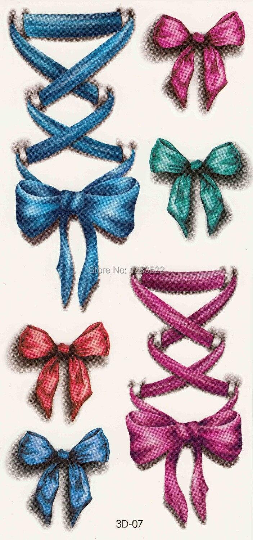 3 sheets Temporary 3D Tattoo Sticker Tatuagem Temporaria Colorful Bow Tie Design Sexy Women Body Art Christmas