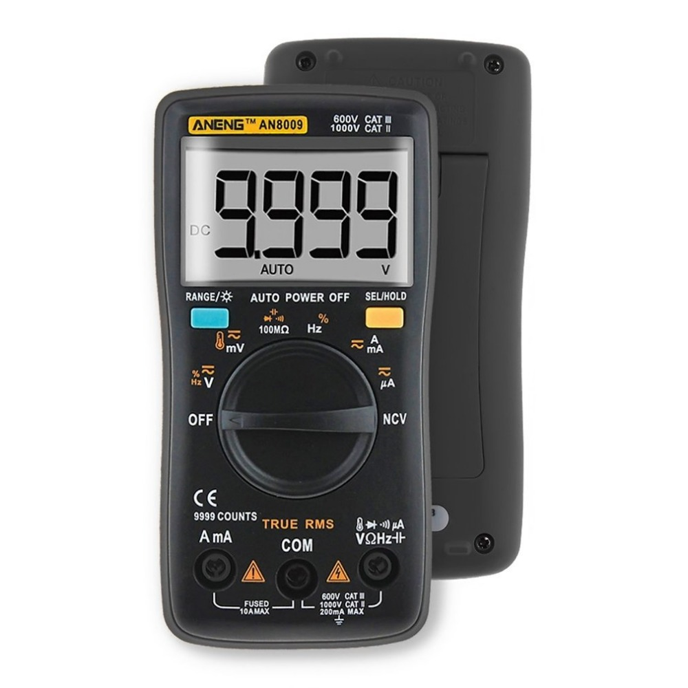 ANENG Professional Digital Multimeter AN8009 LCD Display Digital Multimeter 9999 Counts AC/DC Ammeter Voltmeter Ohm Meter Tester aneng current multi meter an8207l digital multimeter 2000 counts handheld multimeter lcd display ac dc current testing