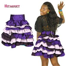 African Women Multiple Layers Skirt Print Dashiki High Waist Knee-length Midi Traditional Clothing WY1286