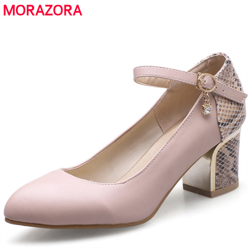 MORAZORA Pointed toe high heels shoes 5.5cm in spring autumn party shoes woman PU soft leather pumps single shoes serpentine  choudory high heels woman pumps spring autumn flower decoration woman shoes attractive flock pointed toe party zapatos mujer