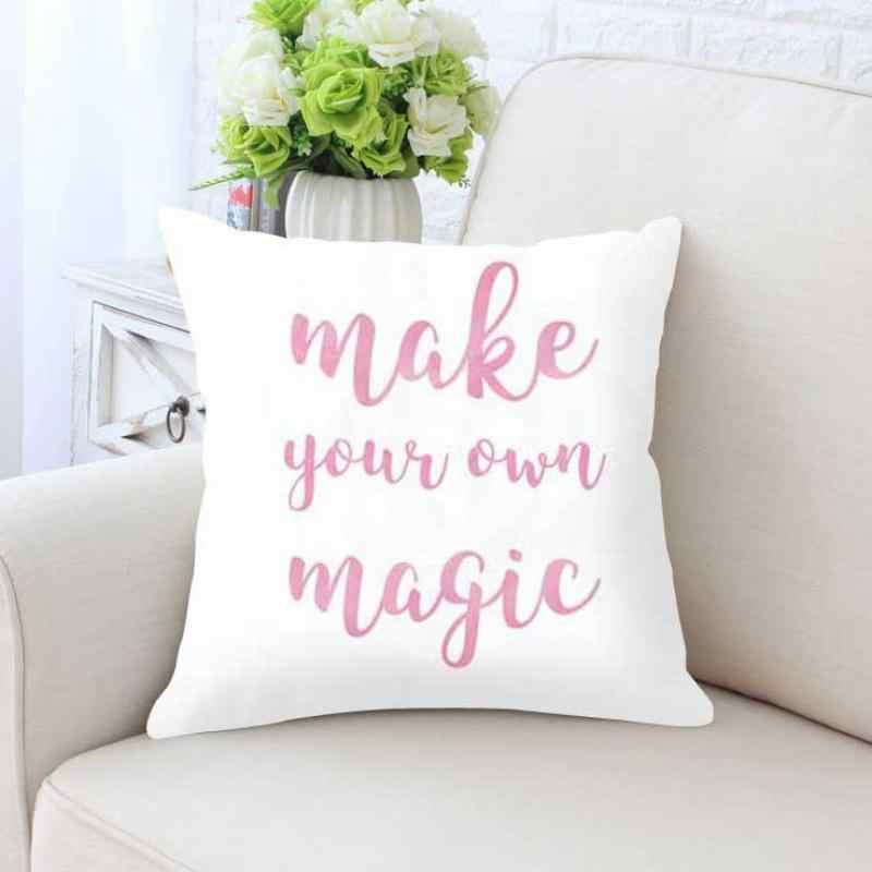 Cute Unicorn Pillow Cushion Fairy Pink Heart Castle Nursery Print Cartoon Picture S Bedroom Decoration Kids