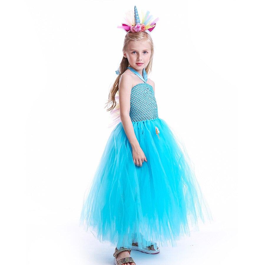 Fluffy Rainbow Dash Girls Tutu Dress with Headband Princess Kids Pony Birthday Party Tutu Dress Girl Halloween Carnival Costume (1)