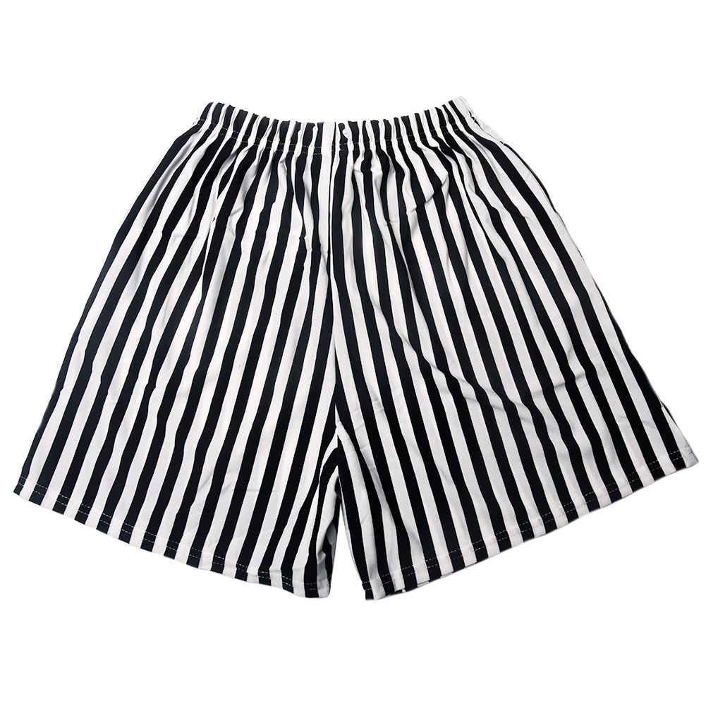 Fashion Summer Korean Women Loose Black White Vertical Striped   Shorts   High Waist Casual Hot   Shorts