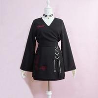 Female Darkness Girl Tops Gothic Punk Lolita Retro Harajuku V neck Vintage Women Full sleeve T Shirts Crop top Bare midriff