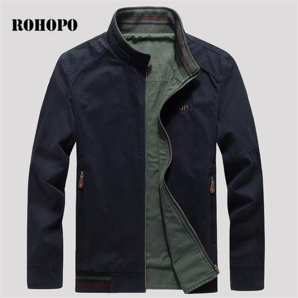 ROHOPO 100% épais coton bomber hommes outwear Homme de Veste Double face, se Branche Collier Homme causal pur coton bomber veste