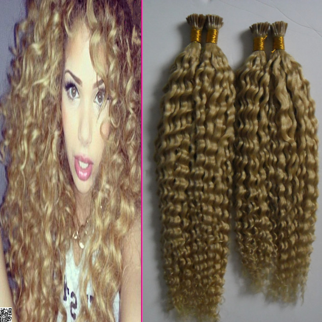613 Bleach Blonde 200s Curly Brazilian Hair I Tip Extensions Remy