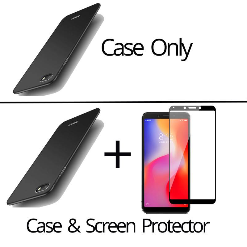 Colorful Hard PC Redmi 6A Case Plastic Full Cover Xiaomi Redmi 6A Case redmi 6a Tempered Glass Screen Protector 6A in Fitted Cases from Cellphones Telecommunications