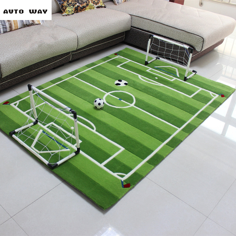 Thicker Acrylic Football Field Carpet Child Bedside