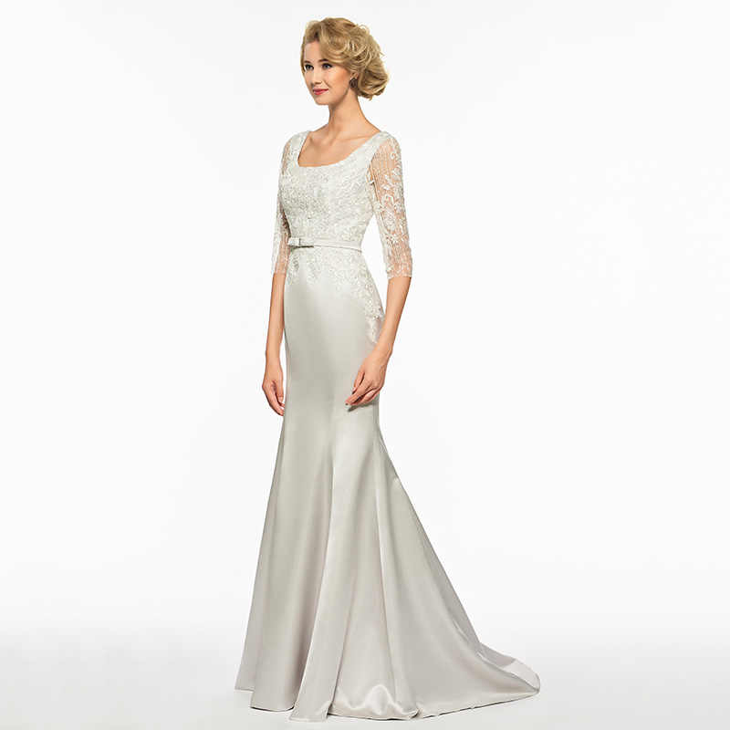 Dressv, квадратный вырез, половина рукава, труба, платье для матери невесты, развертка, шлейф, Русалка, блестки, кружево, длинное, для матери, вечернее платье на заказ