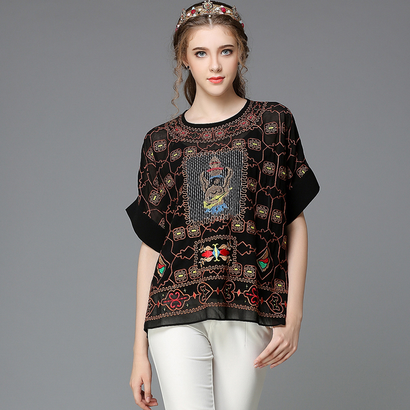 17aa6703c9 Women Sheer Embroidery Chiffon Blouse Tribe Inspired Oversize Pattern Tops  Black Size L -in Blouses   Shirts from Women s Clothing on Aliexpress.com  ...