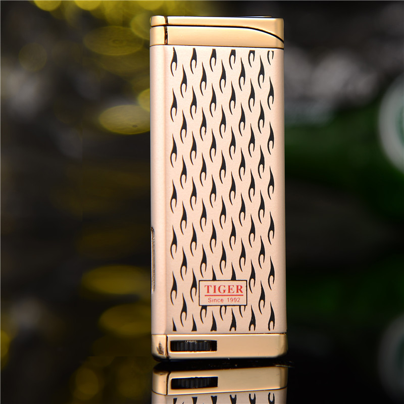 Ultra Thin Compact Jet Torch Lighter Butane Metal Cigar Pipe Turbo Lighter Pattern Cigarette 1300 C Fire Windproof NO Gas