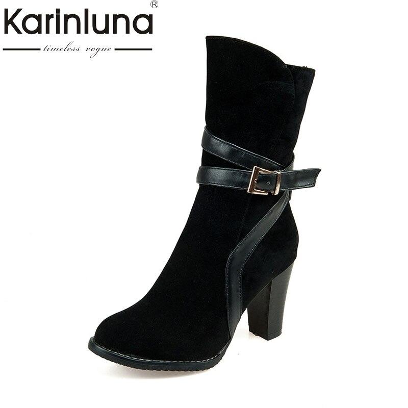 где купить KARINLUNA Large Size 30-47 Retro Western Boots Women Shoes Woman Zip Up High Heels Autumn Winter Boots Add Fur Footwear по лучшей цене