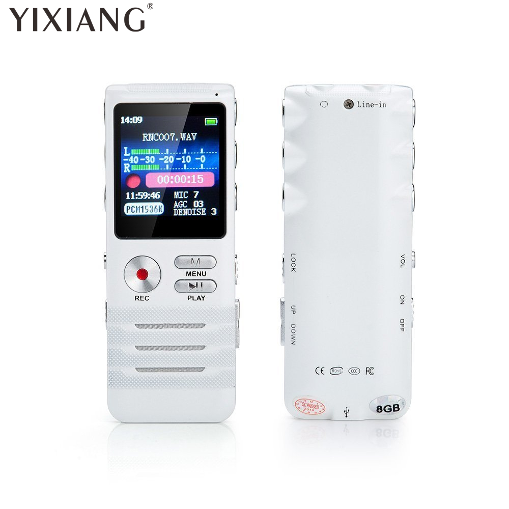 Yixiang цифровой голосовой активации Регистраторы двойной микрофон HD Запись 8 ГБ памяти Шум шумоподавления Премиум диктофон