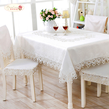 European White Embroidered Round Table Cloth Pure Color Hollow Out Lace Tea Table Cloth Beige Tablecloth Chair Cushion
