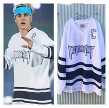 Justin Bieber manches à hockey blanc, ample, manches longues, maillot, avec Tour de visite, mots, broderie, numéro 6