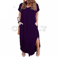 CUERLY Women Short Sleeve V-neck Front Pocket Loose Casual Dress Plus Size 8XL 9XL Party Slit Long Maxi Dress cap sleeve slit front fitted dress