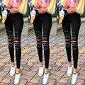 Más Tamaño Negro Pantalones para Las Mujeres Ahueca Hacia Fuera Patchwork Elástica Pantalones Largos de Las Señoras Niñas Peras Con Estilo Lápiz Leggings Agujeros