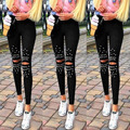 Plus Size Black Trousers for Women Hollow Out Stretchy Long Pants Ladies Girls Pears Patchwork Stylish Pencil Leggings Holes