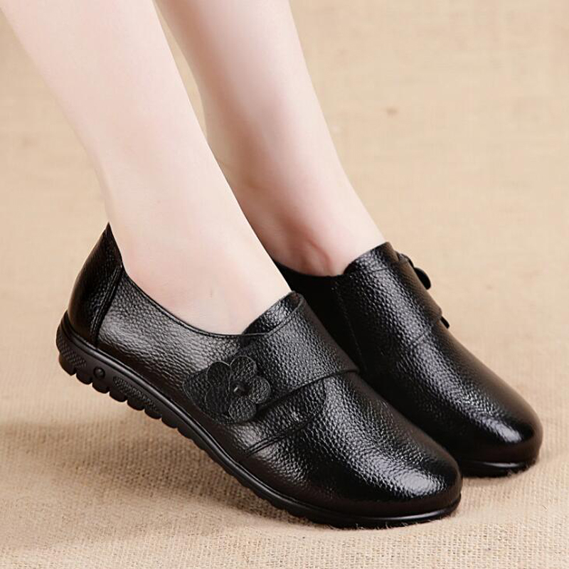 Women flats 2018 new arrivals Spring women Loafers genuine leather shoes with flower women sneakers plus size 41 42 43 aiyuqi 2018 spring new genuine leather women shoes comfortable soft flats women s shoes plus size 41 42 43 shoes women