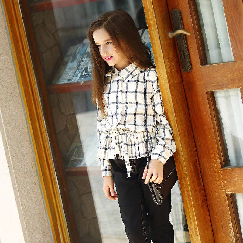 Fashion Teen Girls Blouse Black White Plaid Checked Print Lacing Shirt for School Girls Age5 6 7 8 9 10 11 12 13 14T Years Old