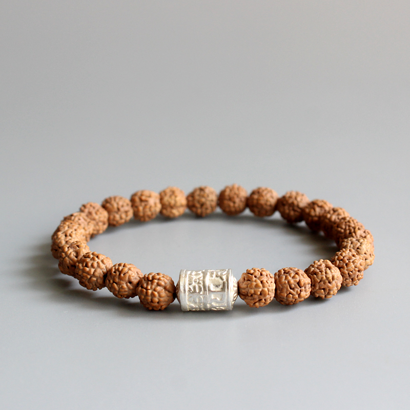 Natural Rudraksha Seed With Tibetan Buddhism Mantra Sign White Copper Beads Bracelet For Men Women Wholesale New Mala OM Jewelry