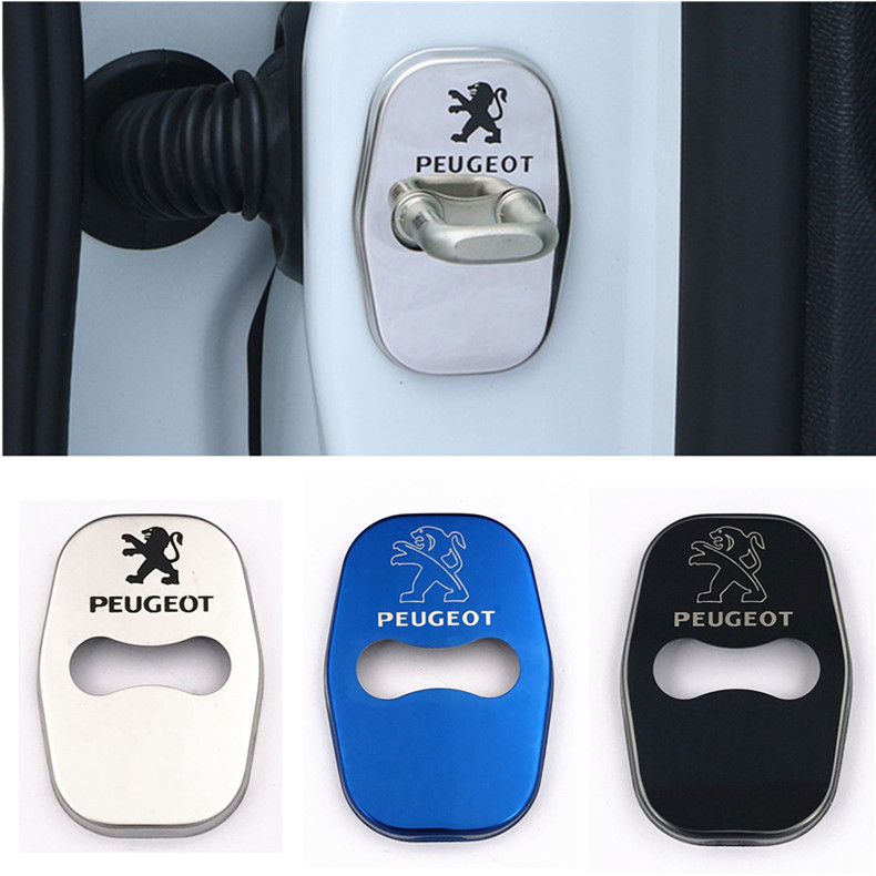 4Pcs DIY Car Styling Stainless Steel Door Lock Case Stickers for Peugeot 3008 2008 308 408 508 301 2009 -14 Citroen