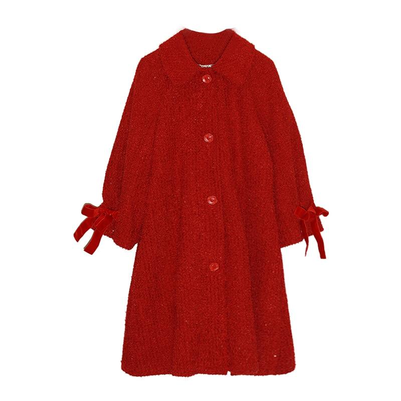 Jessica store s store outono inverno feminino doce senhora bonito lanterna manga casual solto lantejoulas grosso quente vermelho longo casaco de lã - 5