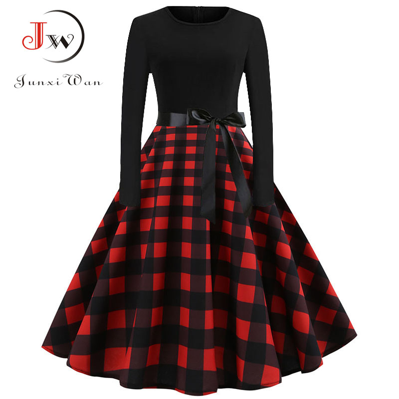 Plaid Print Vintage Dress Women 2019 Christmas Casual Robe Femme Plus Size Dress Elegant Party Dresses Long Sleeve Vestidos