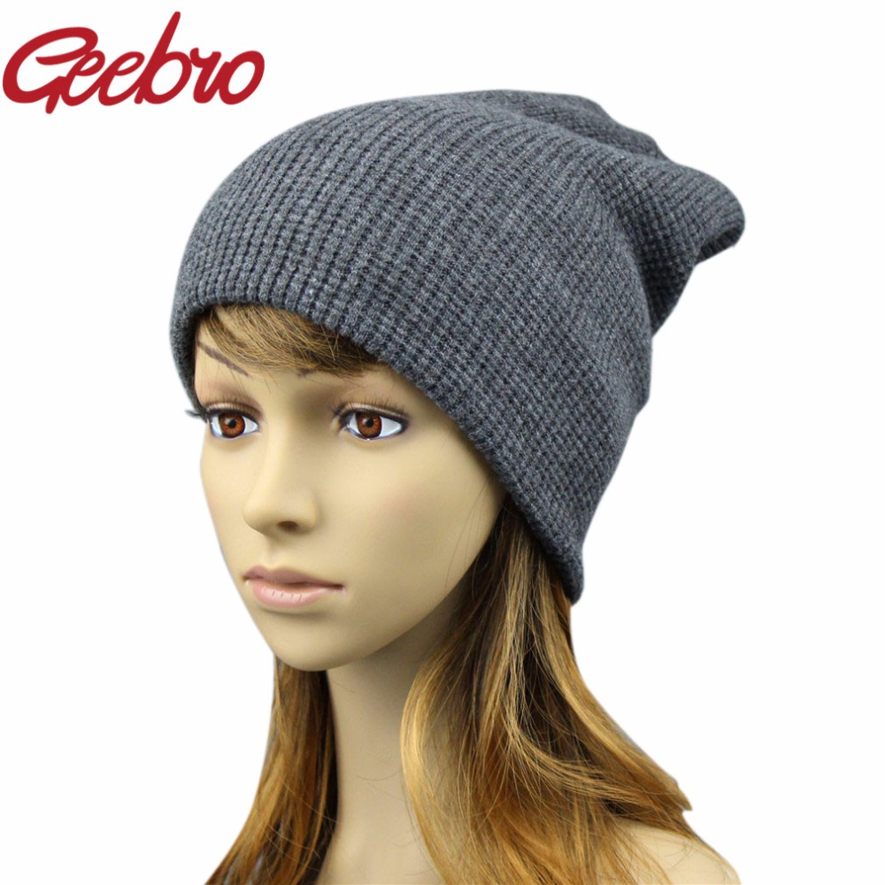 Geebro Women's Winter Hats Cashmere Knitted Mating Hat for Women Real Wool Fur   Skully     Beanie   Female Black   Beanies   JS271A