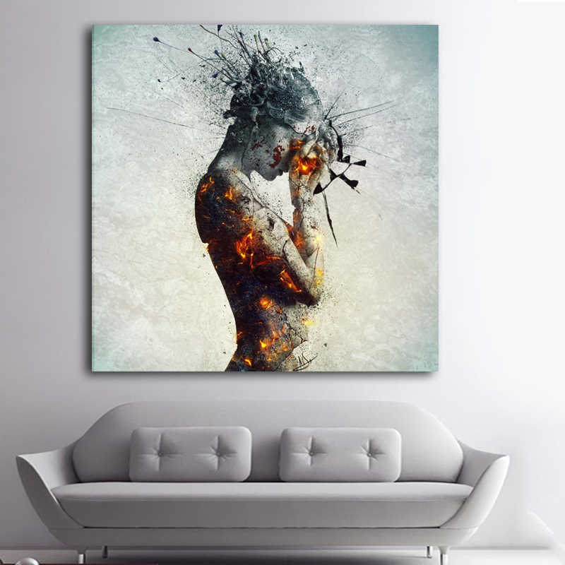 Contemporary Modern Colorful Nude Art Painting Unique Ideas Sexy Woman Body Canvas Oil Wall Decor Calligraphy Aliexpress