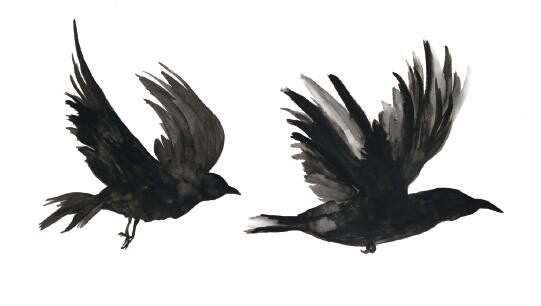 51e4ced969e5b Waterproof Temporary Fake Tattoo Stickers Watercolor Grey Crow Birds Swallow  Design Body Art Make Up Tools