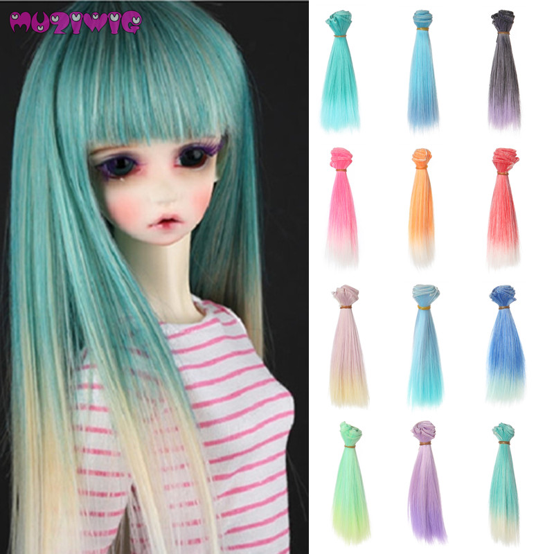 15cm Length Multicolor Green Blue Ombre Short Straight Doll Wig Hair Wefts Extensions For Bjd Dolls Diy Accessories 10pcs/lot