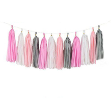 20 poms 14  35cm Grey pink baby white tissue paper tassel garland wedding party wall hanging decorative banner bunting pom
