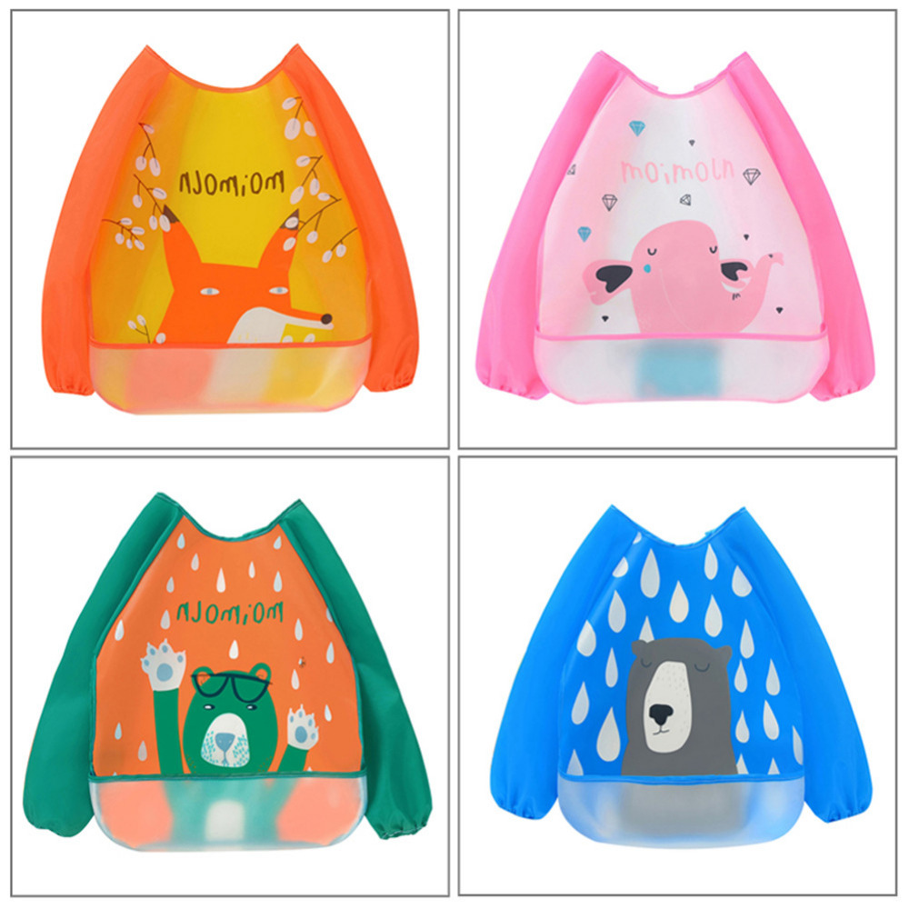 Baby Bibs Infant Burp Cloths Long Sleeve Waterproof Feeding Smock Animals Pattern Children Drawing Smock Feeding Accessories 1set diy 7 tube am radio kit 525 1605khz 100mw electronic diy kit learning set