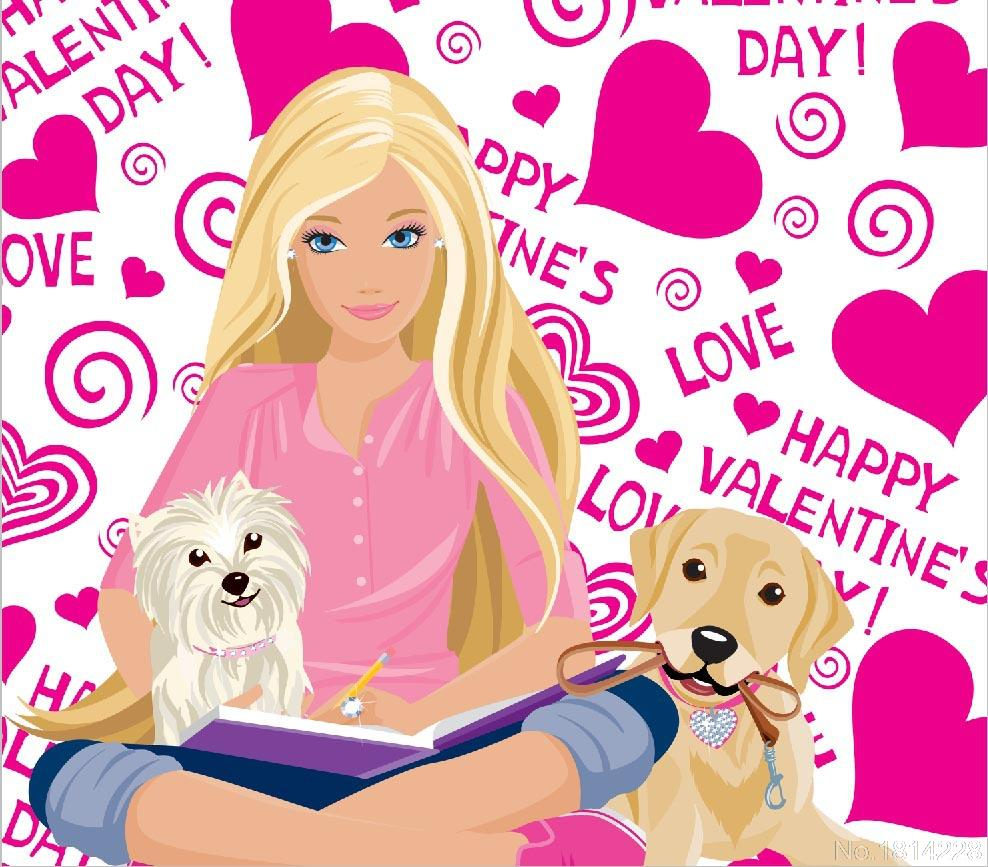 3x5FT Pink Barbies Princess Dogs Friend Love Happy