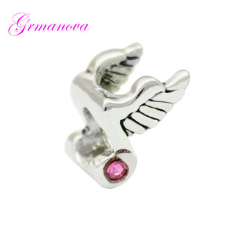 Music charm beads music symbols & wings pink crystal amulet original brand design jewelry Fit Pandora Bracelet Necklace image