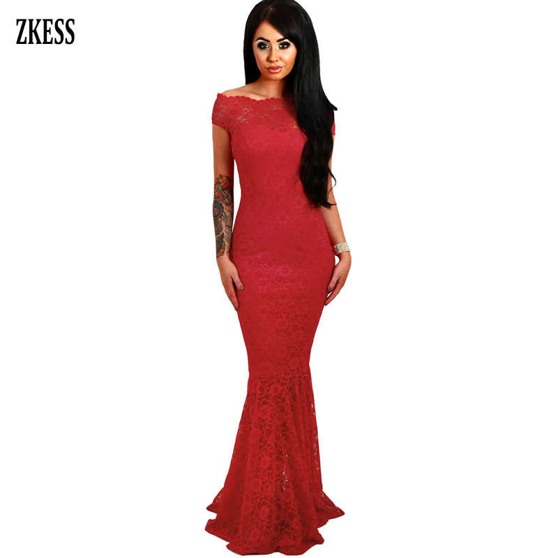 65c92d8513a Zkess 2019 Women Bardot Lace Fishtail Elegant Party Mermaid Dress Sexy  Slash Neck Maxi Bodycon Dress